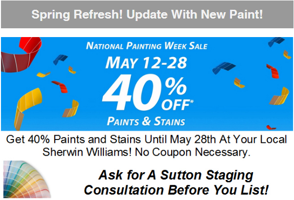 Thinking Of Selling? Get 40% Off Paints & Stains Till May 28th!